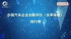 汽车评价研究院权威发布:中国汽车企业创新安亭指数